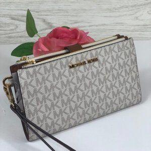 Michael Kors DoubleZip Wristlet Wallet Vanilla